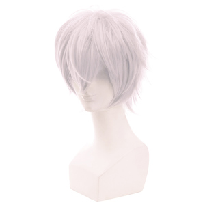 Image 4 - L email wig Brand New Men Cosplay Wigs 30cm Heat Resistant Short Grey White with Pink Color Synthetic Hair Halloween Cosplay Wig