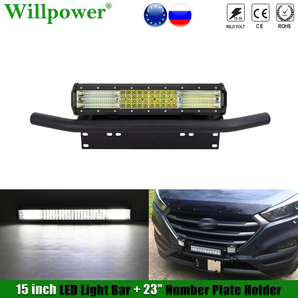 """SUV prawo jazdy numer rejestracyjny uchwyt ramki w/ 15 """"listwa świetlna LED światło przeciwmgielne Offroad 4X4 ciężarówka lampa do jazdy reflektor uchwyt mocujący"""