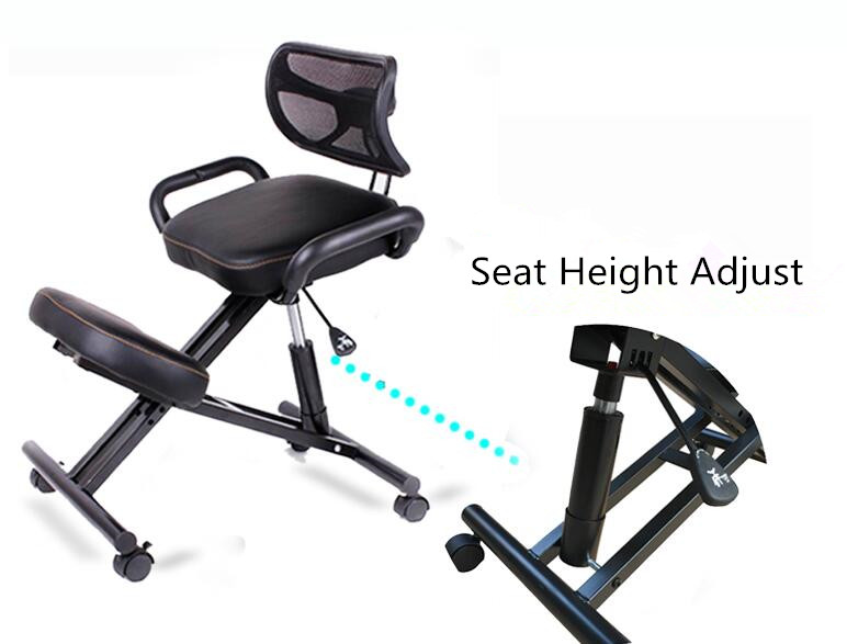 Ergonomsko oblikovan kolenski stol s hrbtnim in ročajem Pisarniški - Pohištvo - Fotografija 6