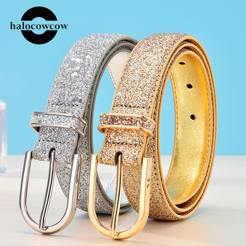 90cm Shiny Silver Gold Pin Buckle Women Belt Luxury Fashion Designer Belts Female High Quality PU Leather Waist Belts 2020 New