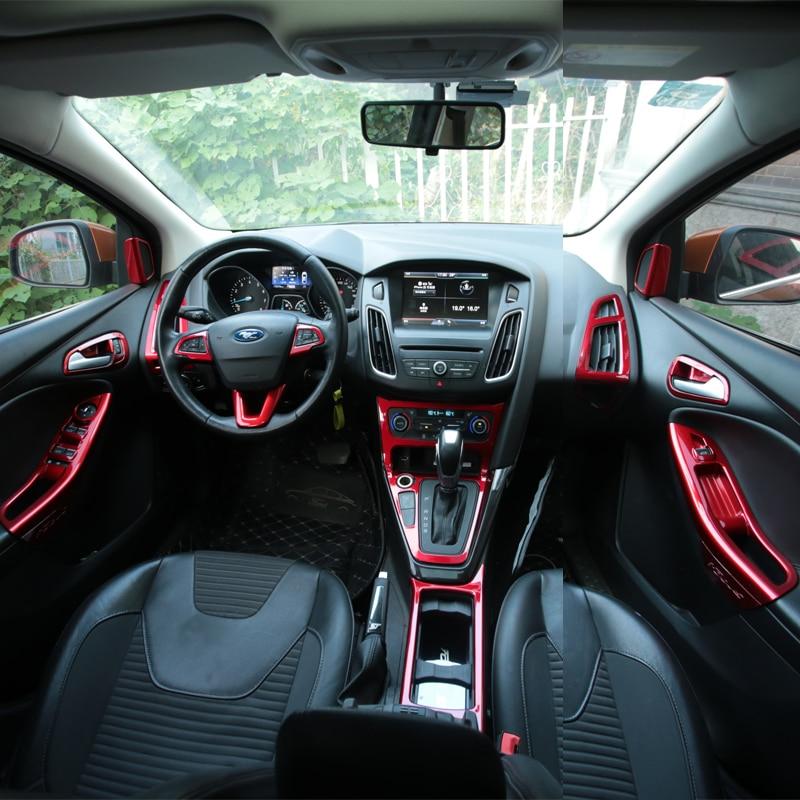 Foal Burning Car Red Paint Steering Wheel Trim Inner Door Handle Bowl Box Air Vent Cover Sticker For Ford Focus 3 4 MK3 MK4