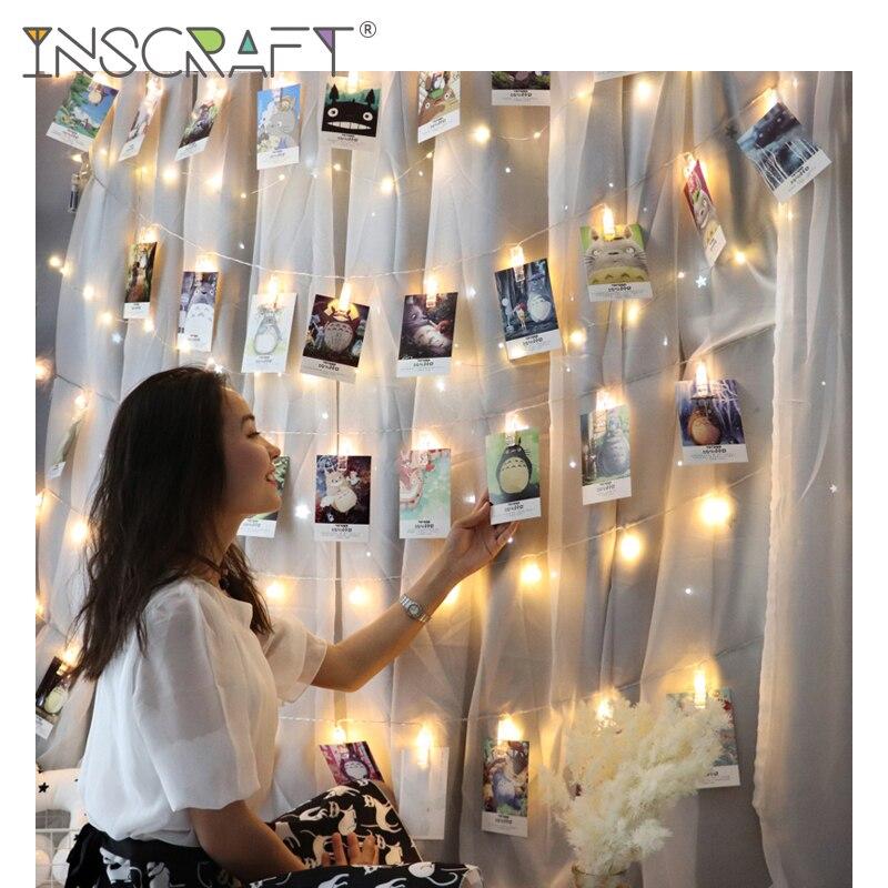 תמונה תלייה קליפים מחרוזת אור תמונה קולאז 'תצוגת Led נצנץ אור עם קליפ בית חדר שינה קיר קישוט עבור תמונה כרטיס