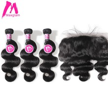Maxglam Brazilian remy Hair 3 Body Wave Human Hair Bundles with Frontal Hair Extension For black women(China)