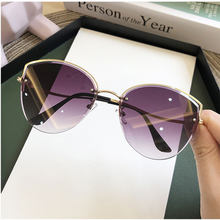Korea śliczne kobiety odcienie Rimless okulary przeciwsłoneczne Cat Eye 2020 New Fashion luksusowe okulary przyciemniane przezroczyste soczewki do małej twarzy Street Eyewear