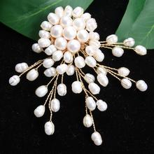 Brooch Jewelry Pearl Freshwater Women for Wedding-Dress Badge-Accessories Handmade