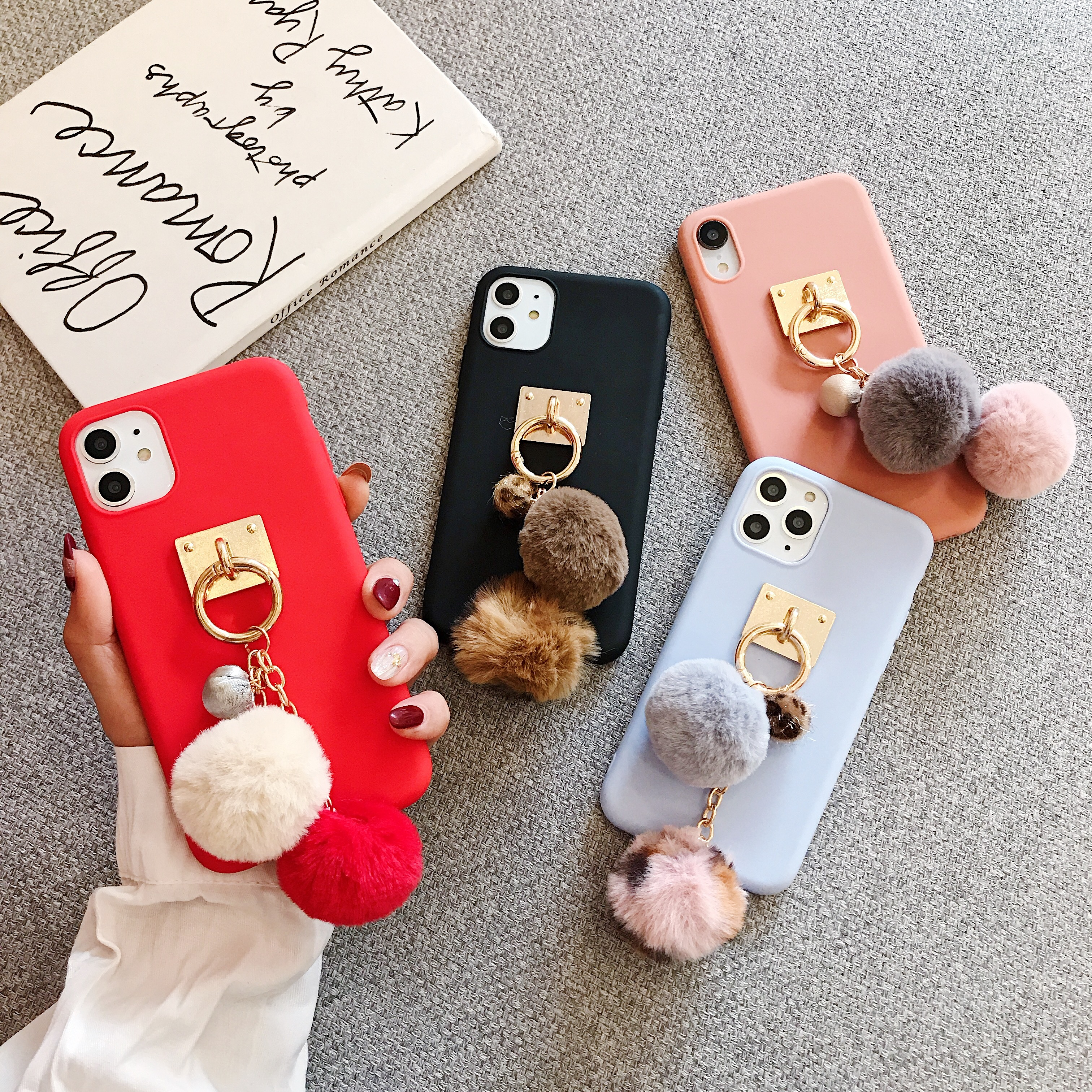 Case For One Plus 6T 7 Pro luxury Cute <font><b>3D</b></font> fox fur ball keychain soft For <font><b>Oneplus</b></font> 5 5T <font><b>6</b></font> 6T case cover image