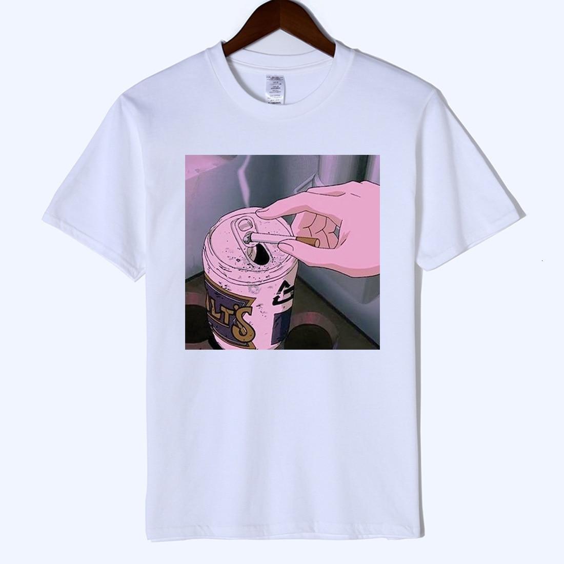 High Quality Arrival Sad Anime Vaporwave Print T Shirt Aesthetic Japan Otaku Mans T-shirt Male Casual Short Sleeve Harajuku