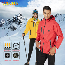 Hooded Heated Jackets Carbon Fiber Electric Heating Skiing Hiking Windbreak Thermal Waterproof Clothing with 10000mAh Power Bank