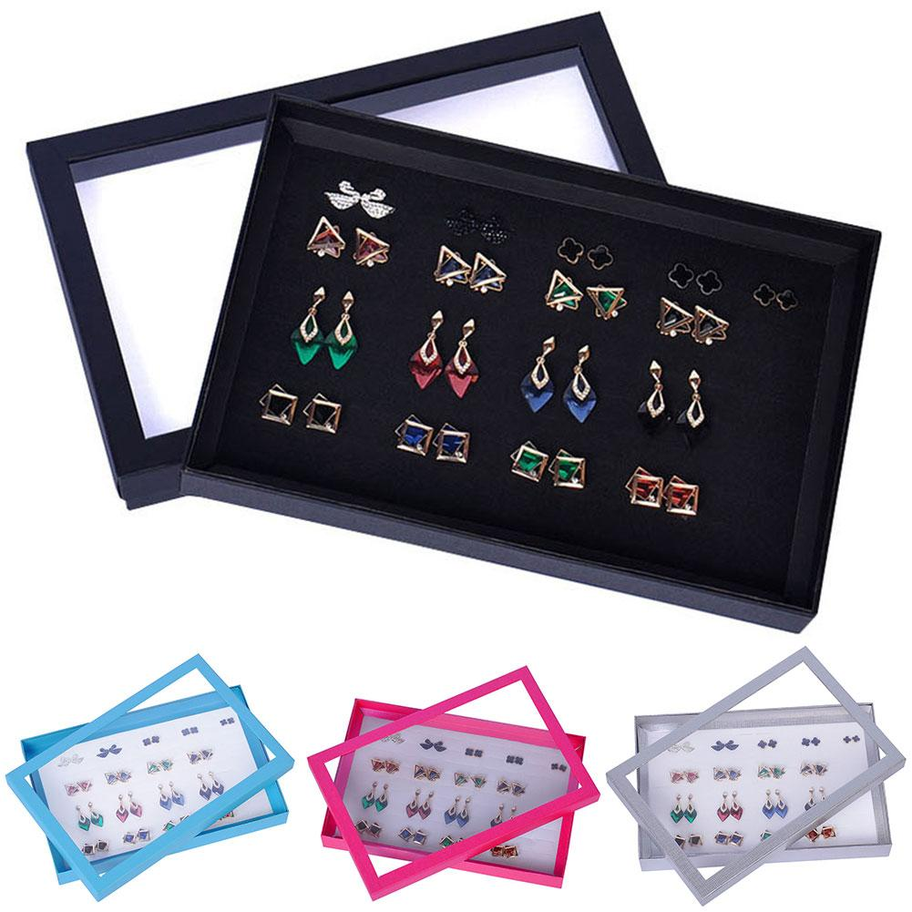 100 Slots Ring Display Box Jewelry Tray Case Holder Ear Studs Storage Organizer