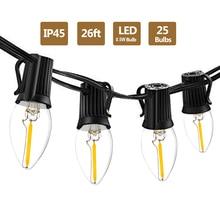 C7 LED Dây Đèn 26Ft 25 Con Vintage Bóng Đèn LED 0.5W 2700K IP45 Chống Nước Ngoài Trời Trong Nhà Dây LED cho Sân Sau Sân Đèn