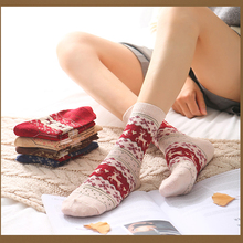 Cat socks children warmth stockings in autumn and winter cute Korean version of red Christmas elk