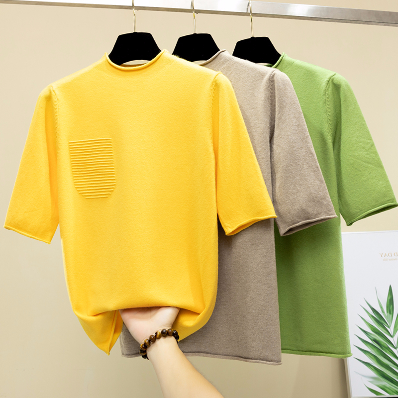 Half Sleeve Tops Women Knitted Sweater Half Turtleneck Korean Modis Pullover All Match 2019 Autumn New Arrival
