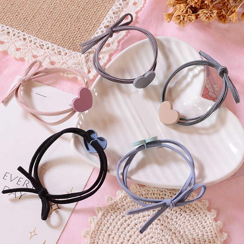 Mini de alta elasticidad del pelo banda de goma en forma de corazón Scrunchies pelo anillo banda de pelo lazos mujeres niños Niños Accesorios para el pelo