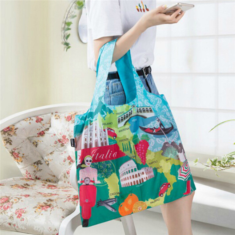 ECO Reusable Polyester Portable Shoulder Handbag Cartoon Green <font><b>Folding</b></font> Pouch <font><b>Shopping</b></font> <font><b>Bag</b></font> Foldable <font><b>Magic</b></font> Style Nylon Large Tote image