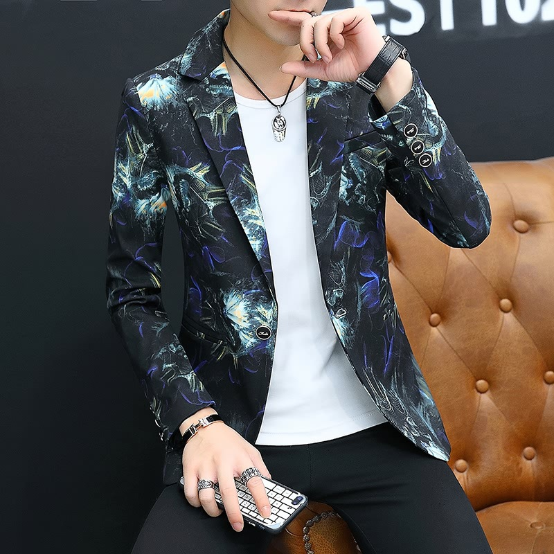 2019 Spring Small Suit Men's Korean-style Slim Fit Printed Hair Stylist Nightclub Trend MEN'S Outerwear Bronze Floral Suit