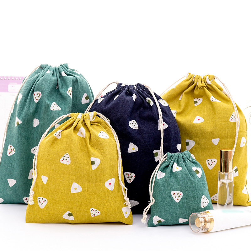 Eco Reusable Shopping Bag Casual Linen Rice Ball Drawstring Shopping Bag Grocery Pouch Bg Fashion Print Women Storage Tote Bag