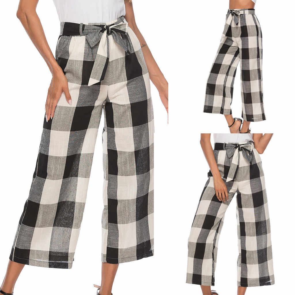Women Pants Plus Size Office High Waist Outdoor Plaid Loose Trousers Sports pants Long Pants Women Autumn Casual Pantalones Muje