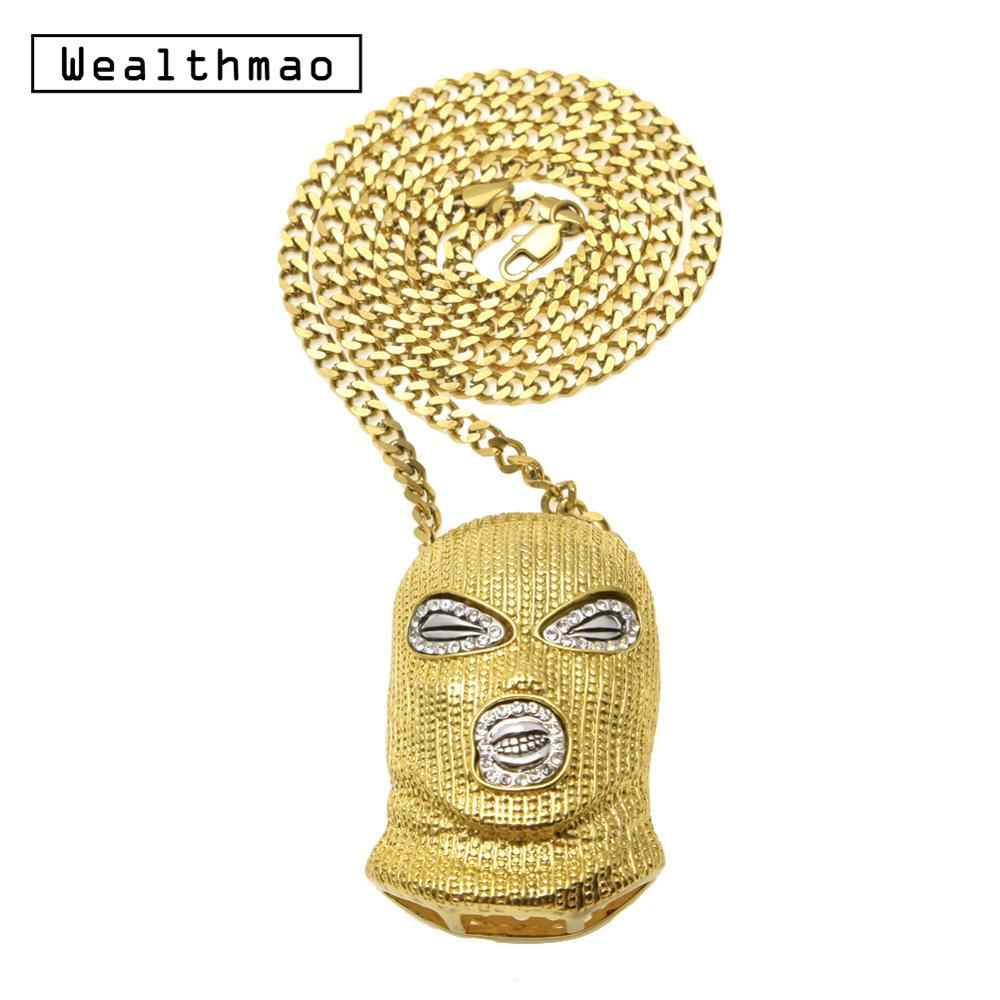 Hip Hop CSGO Pendant Necklace Punk Style Cuban Chain Long Bling Rhinestone Gold Silver Mask Head Charm for Men's Rock Jewelry