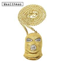 Hip Hop CSGO Pendant Necklace Punk Style Cuban Chain Long Bling Rhinestone Gold Silver Mask Head Charm for Men's Rock Jewelry(China)