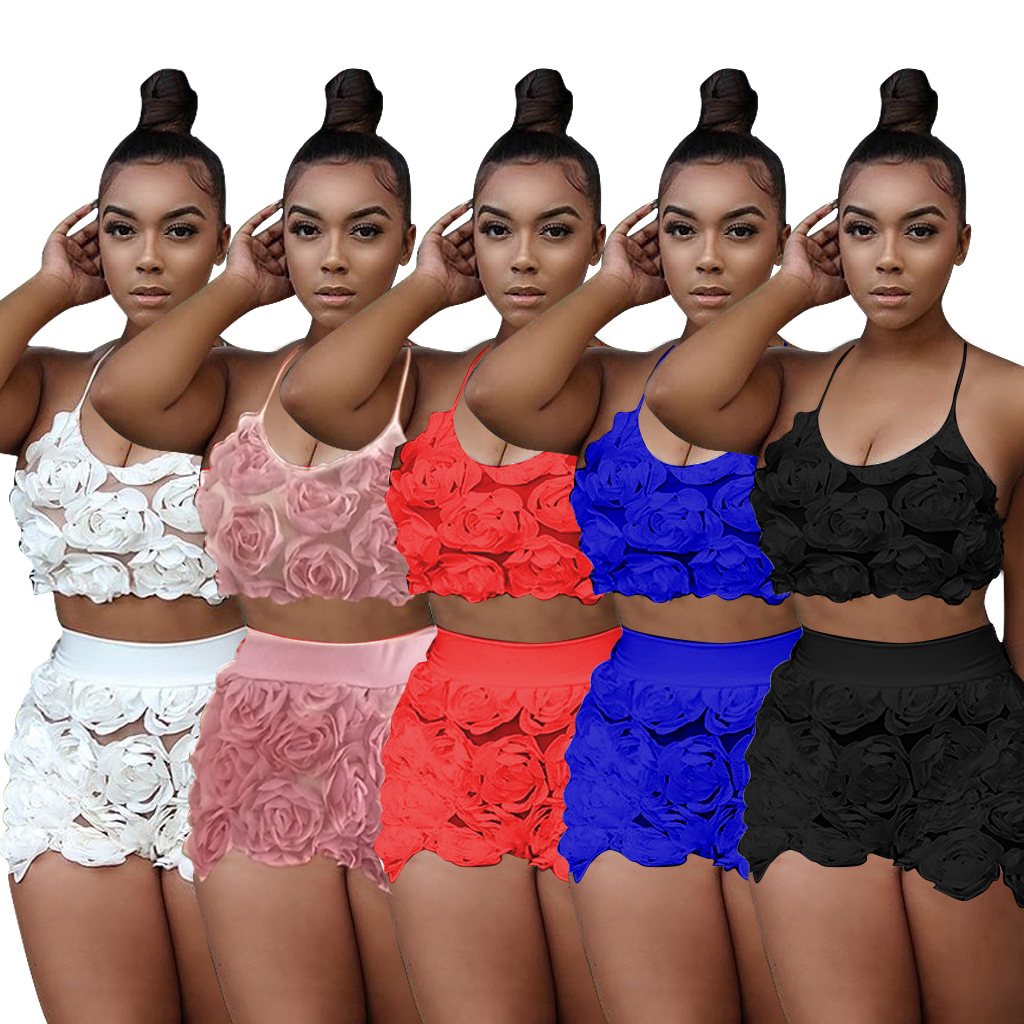 3191 Europe And America WOMEN'S Dress Wholesale Flower Halter Camisole Casual Pants Set Two-Piece Set Nightclub Unnecessary Chan