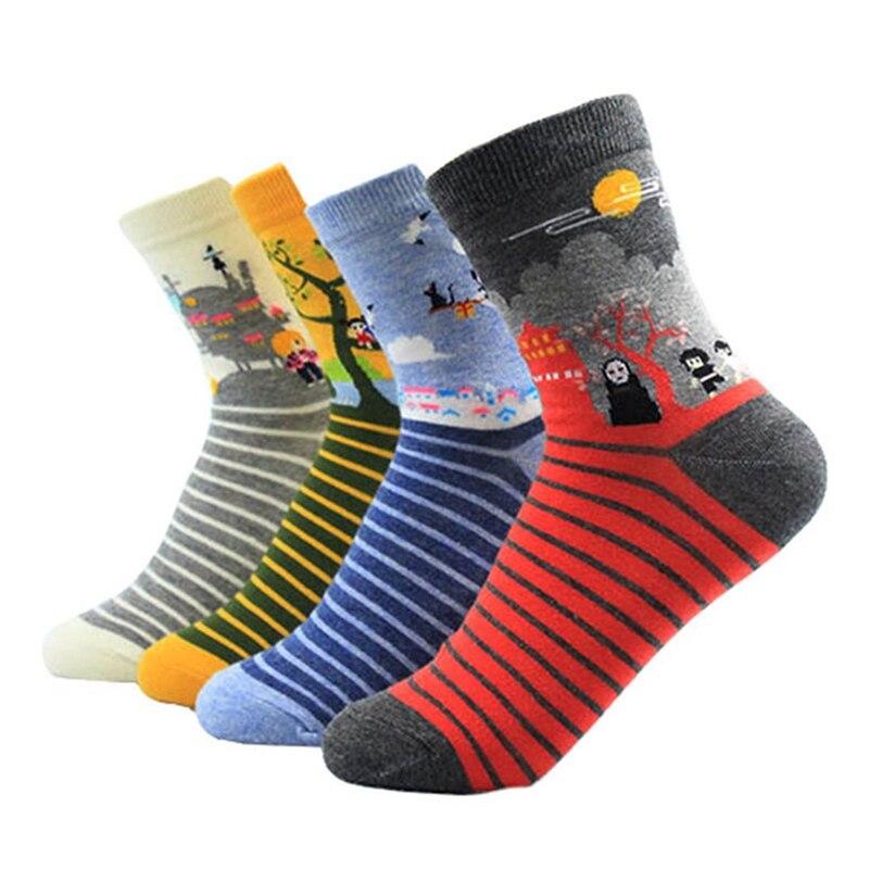 1pair Cute Women Cotton Socks Harajuku Totoro Socks Miyazaki Anime Cartoon Cotton Socks Female Anime Print Socks