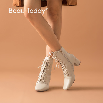 цена на BeauToday Ankle Boots Women Sheepskin Genuine Leather Zip Lace-Up Square Toe High Heel Lady Boots Handmade 03372