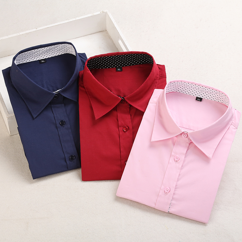 Dioufond Mulheres De Algodão Camisa de Manga Comprida Blusa Vermelha Polka Dot Blusas Femininas 5XL Plus Size Turn Down Collar Mulheres Moda topos