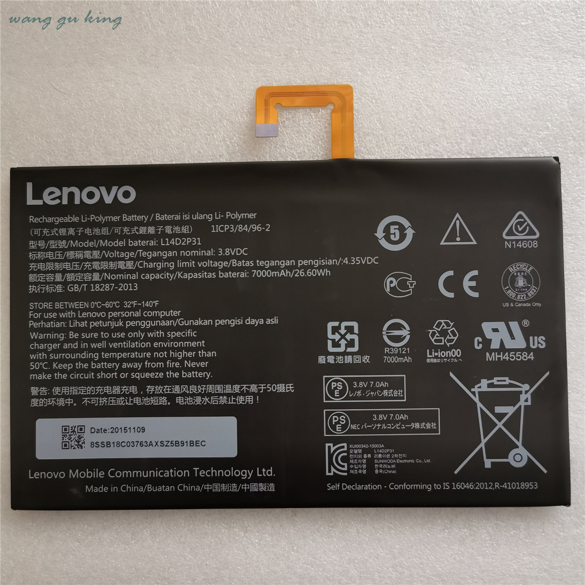 Original  New 3.8V 7000mAh 26.6Wh Original L14D2P31 Battery For Lenovo Tab 2 A7600-F A10-70F Tab2 A10-70 A10-70L Battery