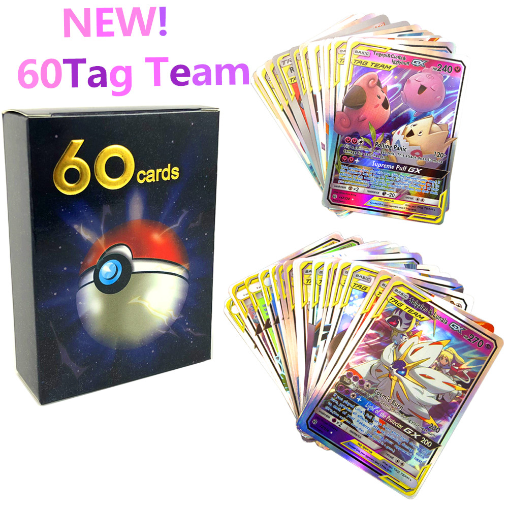 2019 New English Version Pokemones Card 10 20 30 40 50 60pcs Tag Team Mewtwo Charizard Eva Battle Game Card