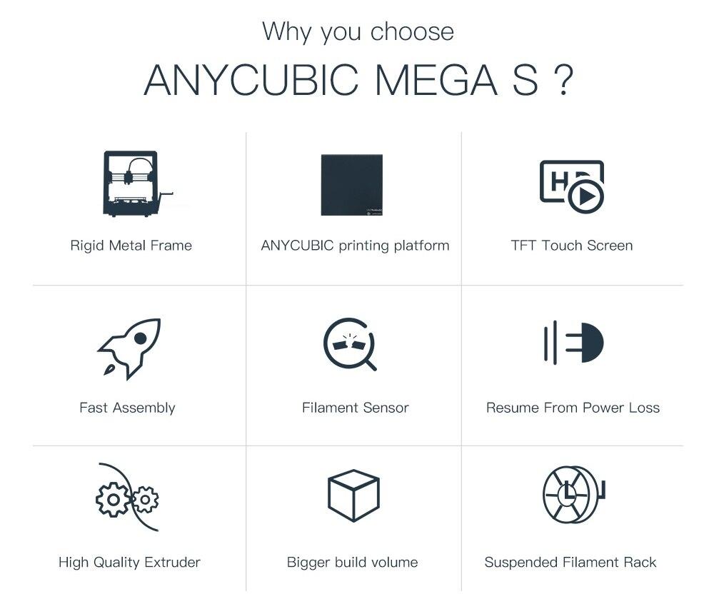 Image 2 - ANYCUBIC i3 Mega Series 3d Printer Mega S/Mega X/Mega Zero Full Metal Frame Touch Screen High Precision 3d drucker impresora 3d3D Printers   -
