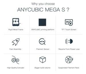 Image 2 - ANYCUBIC i3 Mega serisi 3d yazıcı Mega S/Mega X/Mega sıfır tam Metal çerçeve dokunmatik ekran yüksek hassasiyetli 3d drucker impresora 3d