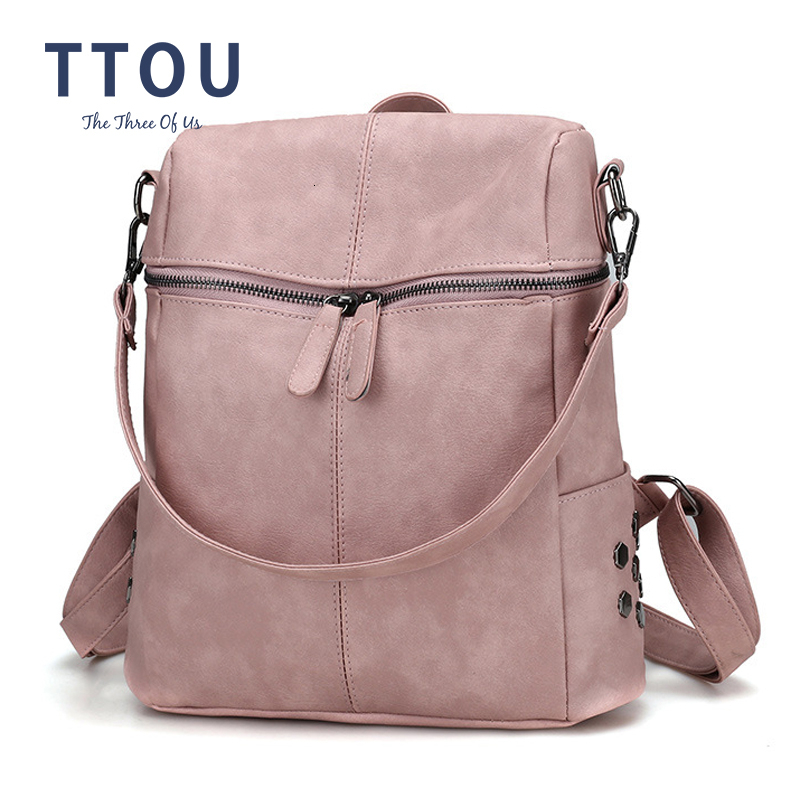 TTOU Women Casual Women Backpack PU Leather School Backpack For Teenager Girls Travel Backpack Vintage Solid Shoulder Bags image