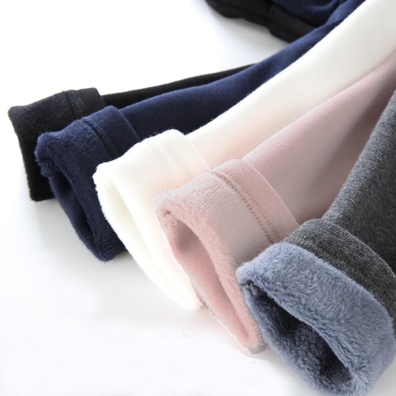 Girls Warm Elastic Waist Cotton Leggings Pants Winter Thickening Fleece Children's Long Trousers Solor Color Warm Girls Legging 1