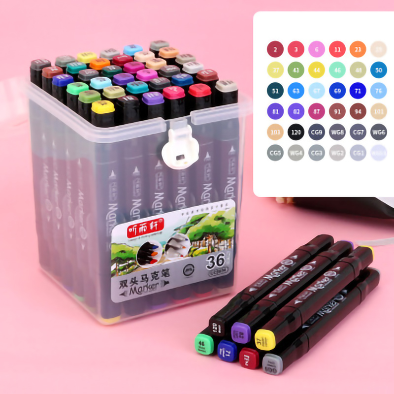 Image 2 - Double Headed Mark Pen Set Art Supplies Colorful Waterproof Pen Brush Pen Drawing Copic Superior Markers Colorful Waterproof PenArt Markers   -