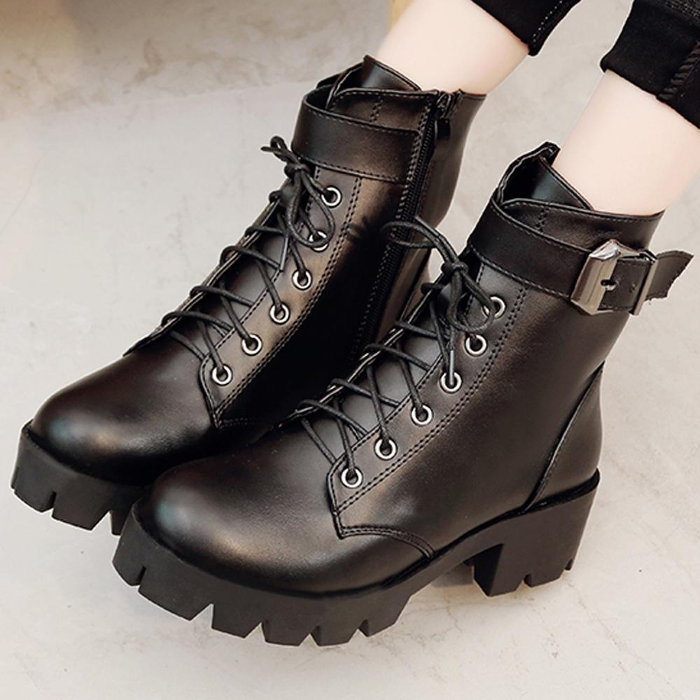 Leather Ankle Boots Low Heel 5 cm Goth