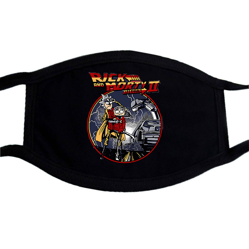Cartoon Black Mask Back To The Future Printing Washable Respirator Anti Haze Dust Mask Protection Anti Dust Cover