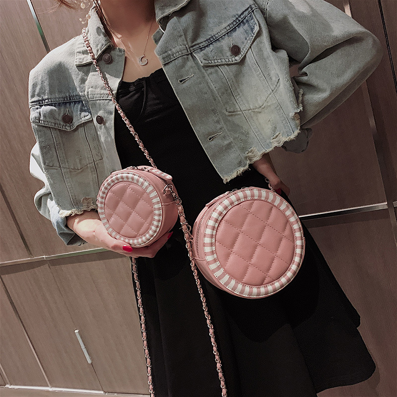 New Arrival Bag 2019 Spring And Summer New Style Large Small Rhombus Spiraea WOMEN'S Bag CHIC Chain Shoulder Small round