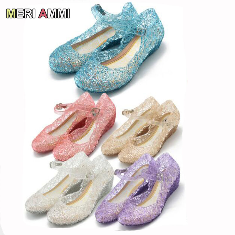MERI AMMI Children Girl Casual Sandals For Anna Elsa Jelly Princess Dress Up Cosplay Baby Shoes Girls Jelly Shoes
