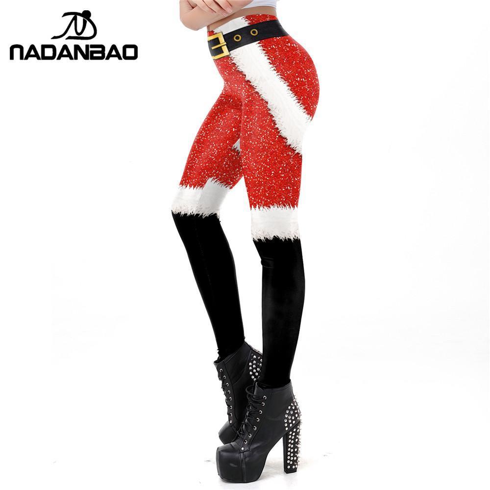 NADANBAO 2019 Christmas Leggings Women Workout Pants Neon Spot Printing Slim Snowflake New Year Pants Gift For Girls Plus Size