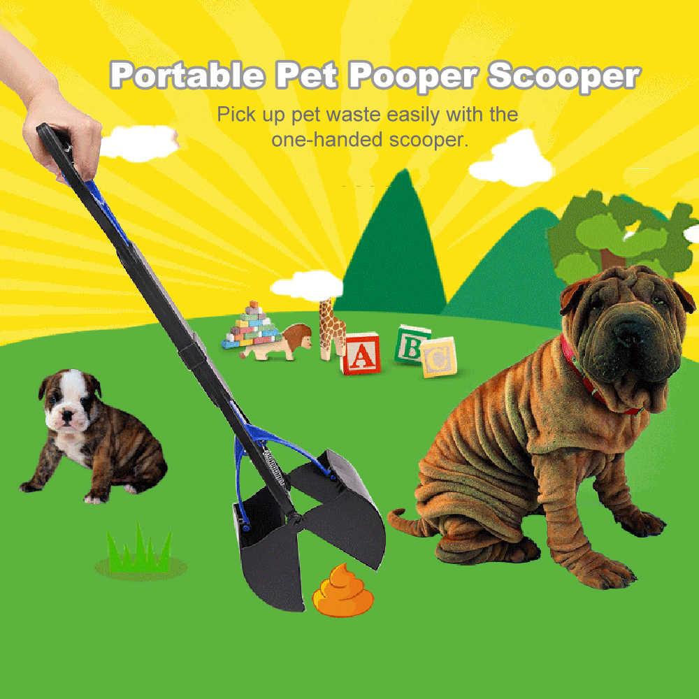 Punho longo pet pooper scooper mandíbula cocô colher limpar pegar sacos de resíduos animais cachorro gato resíduos picker ferramentas de limpeza ao ar livre