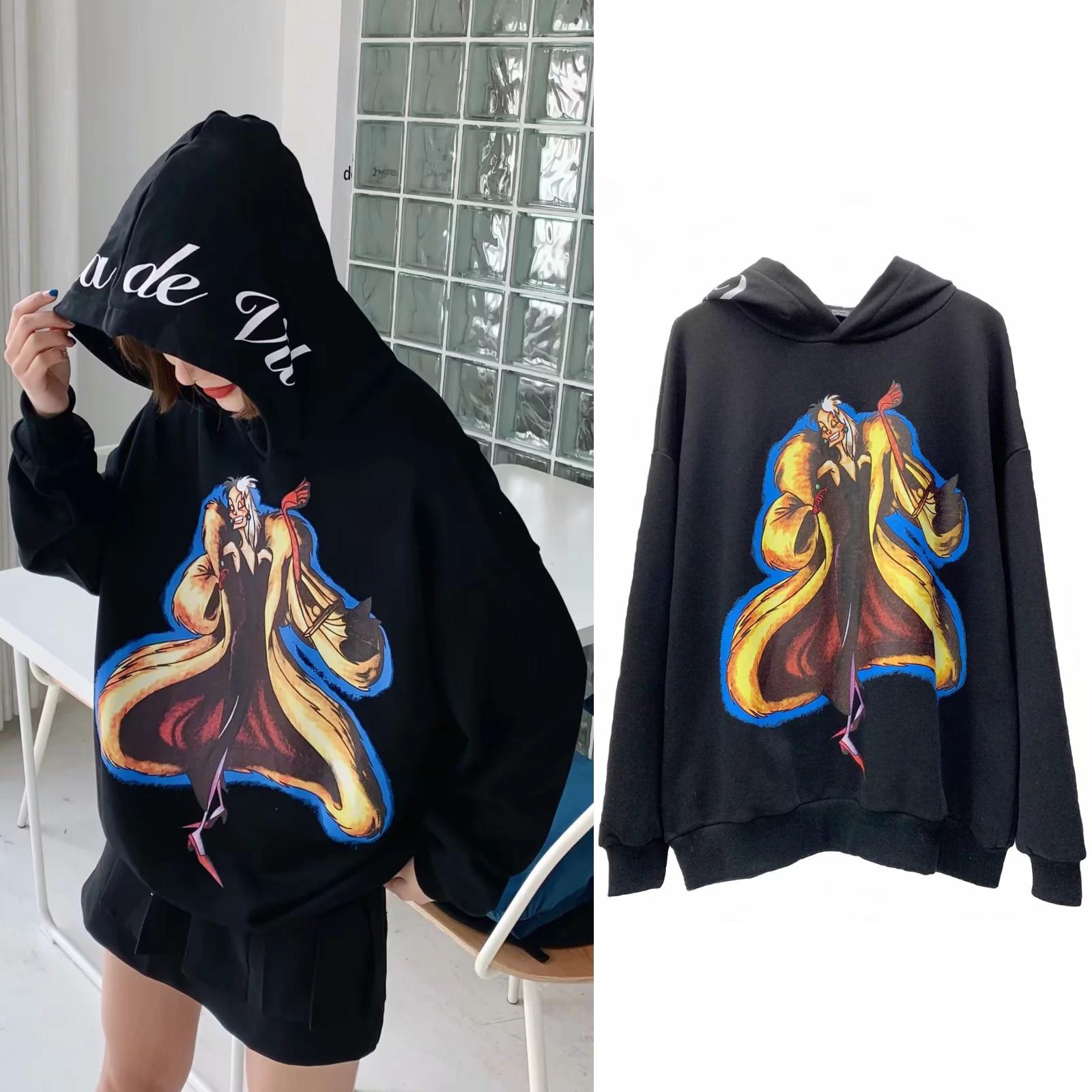 Hoodies With Cartoon Characters Sweatshirt Women Clothing Pullover Streetwear Print 2019 O Neck Long Sleeve Sweatshirts