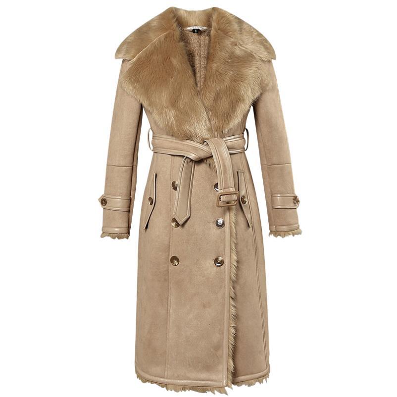 Winter Fox Fur Leather Jackets Outerwear Long Thick Warm Women Coat