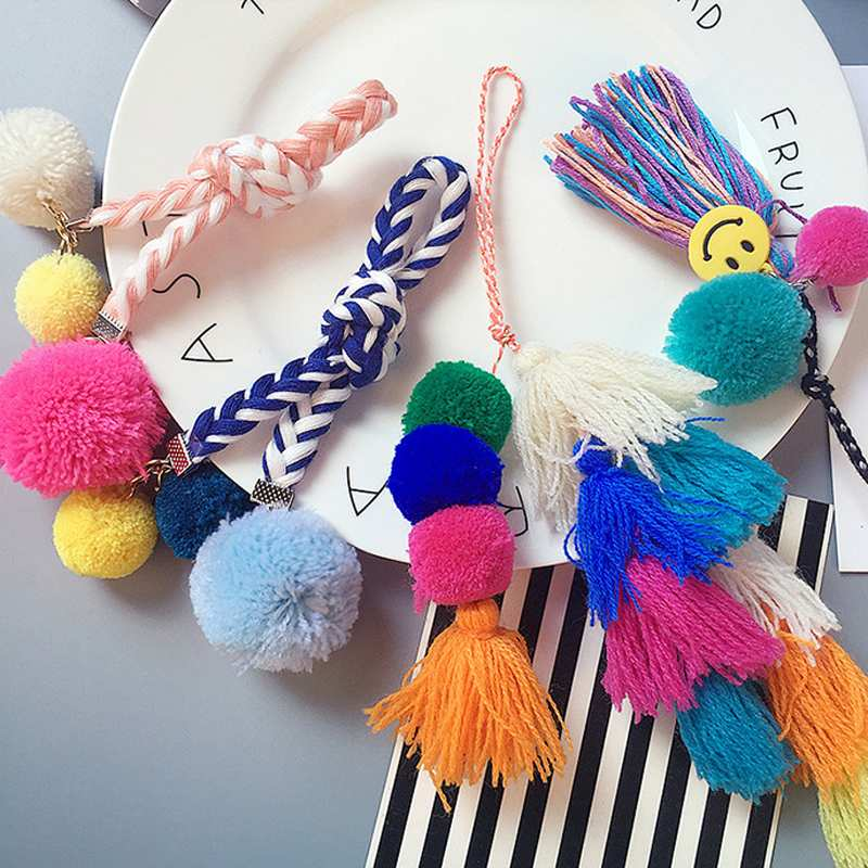 Osmond Cute Pompom Ball Bag Pendant Tassel Fringe Faux Fur DIY Bag Ornaments Colorful Bag Accessories Parts Lovely Girls Gifts
