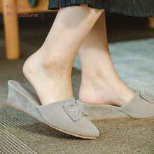 Youdiao Office Indoor Slippers For Women Wedge Heel Sexy Shoes Black/Grey Suede High Heels Slides Women's Home Slipper Mules
