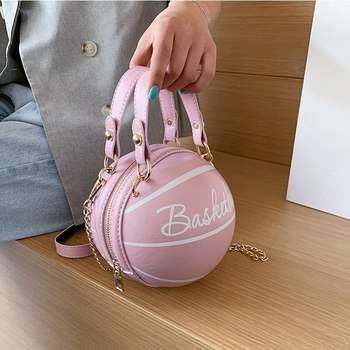 Personality Female Leather Pink Basketball Bag 2020 New Ball Purses For Teenagers Women Shoulder Bags Crossbody Chain Handbags