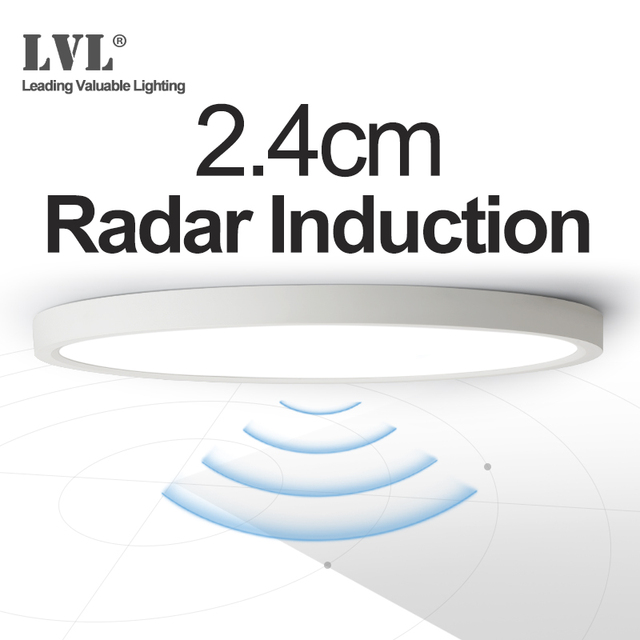 Lâmpada do teto da indução do radar, 12w 18w 24w 220vac, sensor de movimento, superfície montada, lâmpada de teto moderna para corredor de corredor
