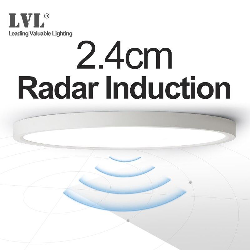 LED Radar Induction Ceiling Light 12W 18W 24W 220Vac Motion Sensor Surface Mounted Modern Ceiling Lamp For Hallways Corridor