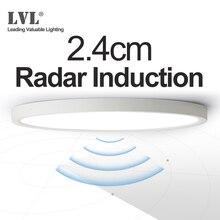 LED Radar indukcyjna lampa sufitowa 12W 18W 24W 220Vac czujnik ruchu montowane na powierzchni nowoczesna lampa sufitowa do korytarzy korytarz