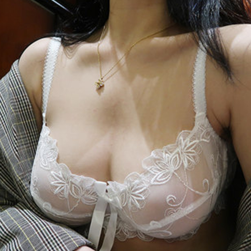 Shaomvmeiwu Embroidered Ultra Thin Transparent Gathered Bra Set Sexy Super Thin Breathable Large Size Non-sponge Mesh Underwea