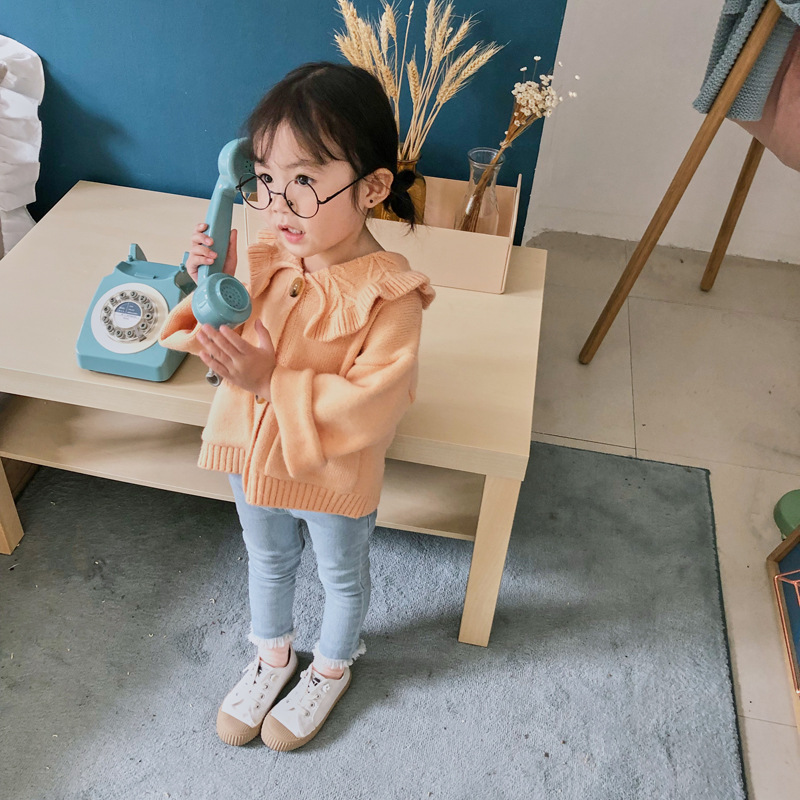 Baby Girls Fold-down Collar Sweater Cardigan 2019 New Products GIRL'S Knitted Shirt Coat Korean-style Online Celebrity Childrens